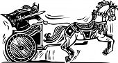 image of charioteer  - Woodcut style image of a Viking riding a chariot - JPG