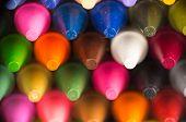 multicolor crayon tips closeup