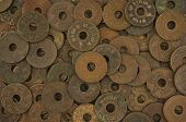 pic of copper coins  - Pile of old ancient coins of Thailand as texture and background - JPG