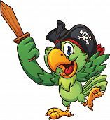 Pirate parrot holding  a wooden sword. Vector clip art illustration with simple gradients. All in a
