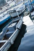 stock photo of ski boat  - Fishing boat moored in the bay of Balaklava - JPG