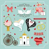 Vintage Set For Wedding Invitation. Cute Design Elements