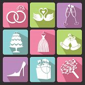 Wedding Flat Icons For Web And Mobile. Vector