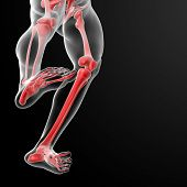 picture of radiation therapy  - 3d render skeleton by X - JPG