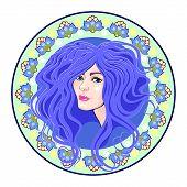 Cameo Girls Head, Blue