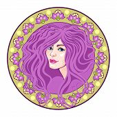 image of cameos  - cameo with floral ornament and head girl purple - JPG