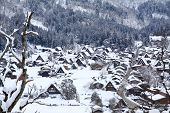 Top View Of Shirakawago In The Winter