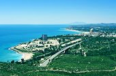 VANDELLOS, SPAIN - MAY 4: Aerial view of the coastline and the nuclear power station on May 4, 2014 in Vandellos, Spain. One of the two nuclear reactors of the plant was shut down on 1990