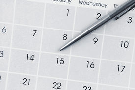 picture of countdown  - Pen on calendar page closeup - JPG