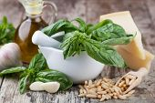 pic of pesto sauce  - Ingredients for making pesto sauce on the kitchen table - JPG