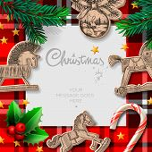 Merry Christmas template with rocking toys and Christmas decoration, vector illustration.