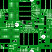 Green Circuit Board Seamless Pattern