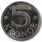 Macro close-up of Swedish five krona coin