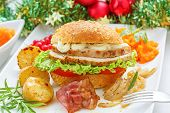 Christmas leftovers concept - Turkey meat Sandwich