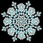 Snowflake Made Of Precious Stones On Black Background