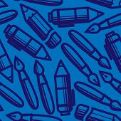 seamless pattern with drawing and writing tools