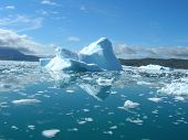 picture of iceberg  - Melting icebergs by the coast of Greenland on a beautiful summer day - JPG