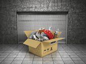 Auto Parts With Cardbox In Garage. Automotive Basket Shop. Auto Parts Store.