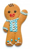 stock photo of ginger bread  - ginger bread man on white background - JPG