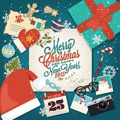 Merry Christmas And Happy New Year Background With Christmas Icon Elements