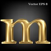 Golden shining metallic 3D symbol lowercase letter m, vector EPS8