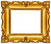 Golden vintage frame isolated on white background -Clipping path included