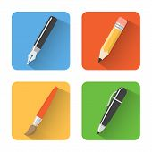 Set of flat pen, brush and pencil icons. Vector Illustration