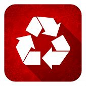 recycle flat icon, christmas button, recycling sign