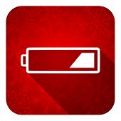 battery flat icon, christmas button, charging symbol, power sign