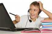 Teenage boy with laptop