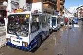 Electro taxis wait for passengers in Zermatt, Switzerland.