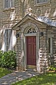 Entry of a charming old building in Quebec, Canada