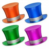 3D Rendered Collection Of Colorful Decoration Top Hats