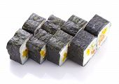 Sushi Roll In Nori With Salmon Cheese And Vegetables Isolated On White Background