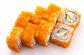 Sushi Roll In Ikura ( Tobiko ) With Crab And Cucumber Isolated On White Background