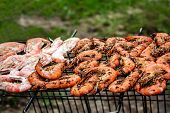 Delicious grilled shrimps on the BBQ Grill