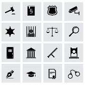 Vector black justice icon set