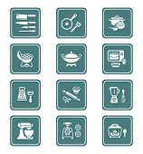 Modern professional utensils for cooking teal icon-set