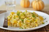 stock photo of butternut  - Butternut squash quinoa pilaf on a plate - JPG