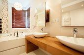 image of bathroom sink  - Horizontal view of two sinks in bathroom - JPG