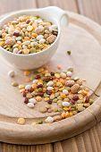 mixture of legumes in ceramic bowl