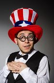Man with american hat wearing glasses