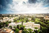 Aerial view of Vatican Gardens and buildings, Rome