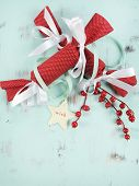 Modern Style Festive Christmas Holiday Background With Red And White Natural Wood And Felt Ornaments