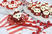 Christmas Holiday Strawberry Santas With Cherry Red Velvet Cupcakes Dessert Party Food In Modern Red