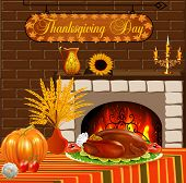 Card For Thanksgiving With Turkey And Vegetables Fireplace