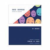 Vector funny faces horizontal corner frame pattern business cards set