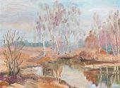 Birches Near River