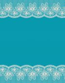 Blue Background With Two White Lacy Flower Borders.