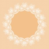 Round White Lacy Frame On Beige Background.
